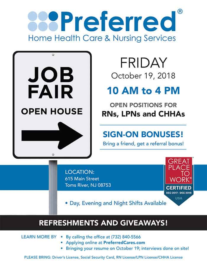 Preferred Home Health Care Sponsoring Job Fair For Rns Lpns Chhas