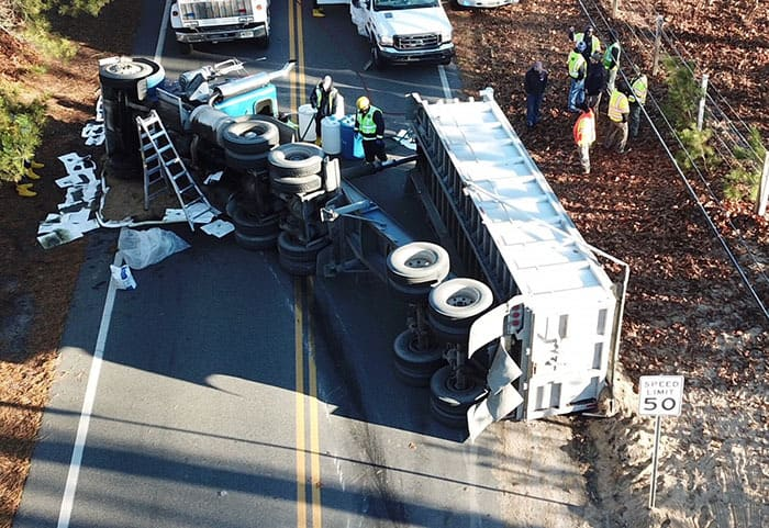 Overturned Dump Truck Closes Road For Hours | Jersey Shore