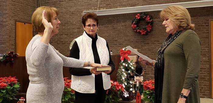 Janice Kisty was sworn in as clerk. (Photo by Bob Vosseller)
