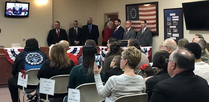 Local officials, friends and family attended the swearing-in ceremonies for the new governing body. (Photo by Kimberly Bosco)