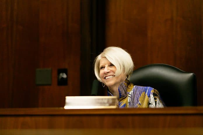 Virginia Haines after being named freeholder director. (Photo by Jennifer Peacock)