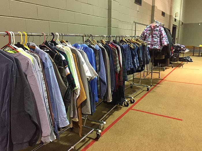 Winter coats and shirts were hung up on racks along the wall at the Toms River Presbyterian Church during last year's survey. (Photo by Kim Bosco)