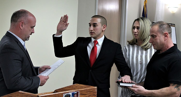 Toms River resident Michael Gardner was sworn in. (Photo courtesy Manchester Township)