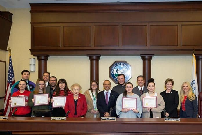 High students from all over Monmouth County were honored by Monmouth County Clerk Christine Giordano Hanlon at the Board of Chosen Freeholders Meeting on Jan. 24. (Photo courtesy Monmouth County)