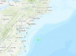 The 4.7-magnitude quake originated under the Atlantic Ocean off the Maryland Coast. (Graphic courtesy USGS)
