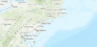 The 4.7-magnitude quake originated under the Atlantic Ocean off the Maryland Coast. (Graphic courtesy USGS)