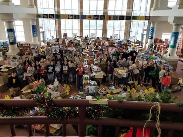 Students, faculty and staff came together to collect a whopping 72,095 nonperishable food items for donation during the month of December. (Photo courtesy Southern Regional School District)