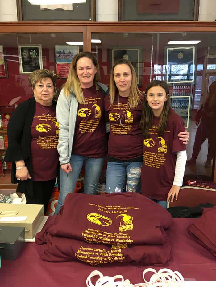 Workers sold T-shirts at the event. From left to right are Roseann Puglisi, Kathy Tierney, Danielle Moeller and Keira Ohleth, all of Berkeley Township. (Photo courtesy of Maureen Clemente)