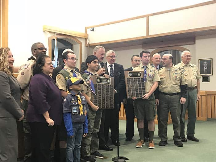 The Township Council regularly recognizes Boy Scouts who have earned their Eagle Awards. (Photo by Chris Lundy)