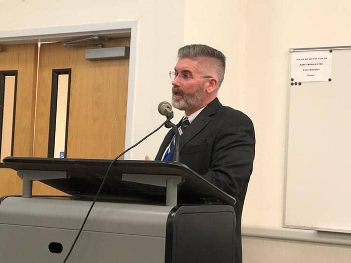 Superintendent Gerard Dalton presents information about the district's finances. (Photo by Judy Smestad-Nunn)