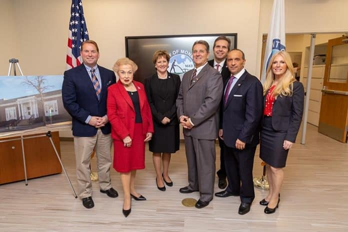 Monmouth County Freeholder Lillian G. Burry, Freeholder Susan M. Kiley, Freeholder Gerry P. Scharfenberger, Ph.D., Freeholder Director Thomas A. Arnone, Impreveduto, County Clerk Christine Hanlon, and Monmouth County Sheriff Shaun Golden were present to commemorate the event. (Photo courtesy Monmouth County)