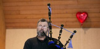Frank Johnson leads the practice of the Pipes & Drums of Barnegat Bay Feb. 4. (Photo by Jennifer Peacock)