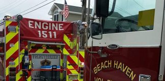 The Beach Haven Volunteer Fire Company also recently held a food drive for members of the Barnegat Light Coast Guard Station, donating three truckloads of supplies. (Photo courtesy Beach Haven Vol. Fire Company)