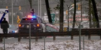 The reportedly single-vehicle accident happened around 11 a.m. (Photo courtesy Ocean County Scanner News)
