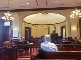 Historic courtroom 1 was not packed as expected for Judge Marlene Lynch Ford's decision on whether the Eagle Ridge development application hearing could move forward. (Photo by Jennifer Peacock)