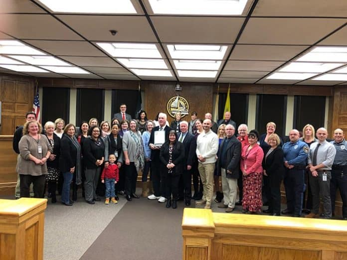 Many township employees came out to wish township zoning officer Sean Kinnevy well on his retirement. (Photo by Judy Smestad-Nunn)