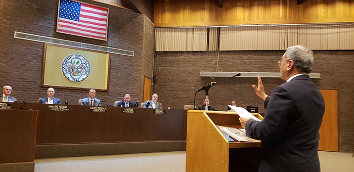 Dr. Ali Chaudry, former mayor of Basking Ridge, speaks to the Jackson Council during a meeting that centered on the subject of freedom of speech versus hate speech. (Photo by Bob Vosseller)