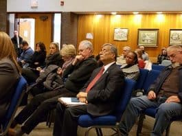 A crowded audience is seen listening to one of many speakers on the subject of anti-Semitism during a Township Council meeting. (Photo by Bob Vosseller)