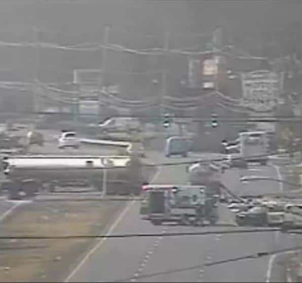 Route 9 is closed due to an oil tanker accident. (Photo courtesy Marlboro Township)