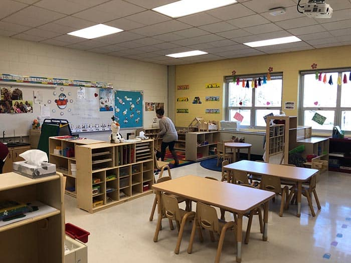Each of the 24 preschool classrooms is staffed with one preschool teacher and one paraprofessional. (Photo by Kimberly Bosco)