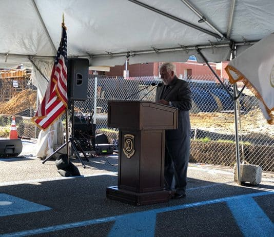William Hoey speaks during a groundbreaking of the new Performing Arts Academy on the campus of Ocean County College. (Photo by Kimberly Bosco)