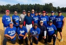 The Jersey Blues of the Berkeley Senior Softball League enjoy their fall title. Kneeling from left to right are Albie Garzoni, Ed De Francesco, Robert Martin, Jimmy Conner and Kelly Rielly. Standing from left to right are Rodney Ford, Al Switka, Jon Rasmussen, Dale Cammarata, Randy Leiser, Ron Castellano, Matt Baranyah, Joe Heckendorf (wearing the red hat), Matt Padulla, Billy Vanderstreet and Jim Dixon. Another team member was Mike Warner. (Photo courtesy of John Dowling)