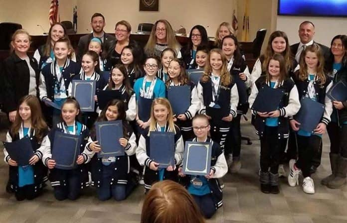The Howell Township Council honored the Howell Pop Warner Cheer team as undefeated champions. (Photo courtesy Howell Happenings NJ)