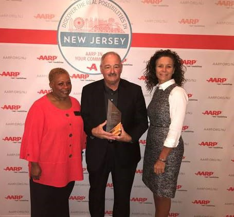 Pictured from left to right are President Lavelle Jones, Stanley Rosenthal and AARP State Director Stephanie Hunsinger. (Photo courtesy AARP)