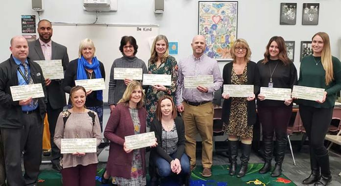 PTA grant winners and principals representing absent grant winners. (Photo courtesy Manchester Township School District)