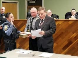 Detective Mary Ann Cirulli was sworn in as Sergeant. (Photo courtesy Barnegat Township Police)