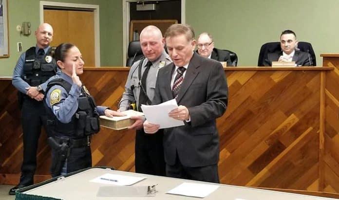 Detective Mary Ann Cirulli was sworn in as Sergeant. (Photo courtesy Barnegat Township Police)