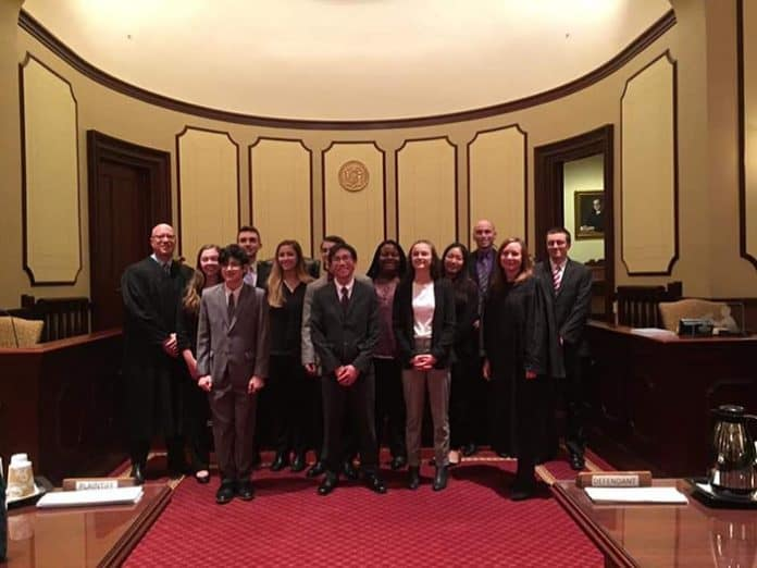 The Central Regional team came in first out of 11 Ocean County high schools that competed and came in fifth in the New Jersey State Bar Foundation's Mock Trial competition quarterfinals in New Brunswick recently. (Photo courtesy Central Regional)