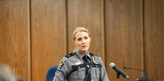Chief Lisa Parker discusses her findings about the township's two first aid squads Feb. 11. (Photo by Jennifer Peacock)