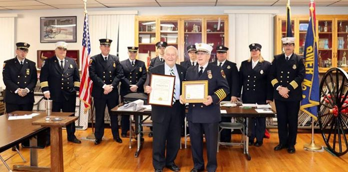 Mayor Kelaher presented Ex-Chief and current Fire Police Richard (Dick) Beck, Badge Number 37, with a certificate recognizing him for 60 years of faithful and continuous service to Toms River Fire Company #1. (Photo courtesy Toms River Township)
