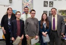 Winners (L-R) William Ashton, Brian Kutch, Grace Hallock with BOE President Jackie Bermudez, Teacher Rob Morris, Superintendent Trethaway. (Photo courtesy Manchester Township School District)