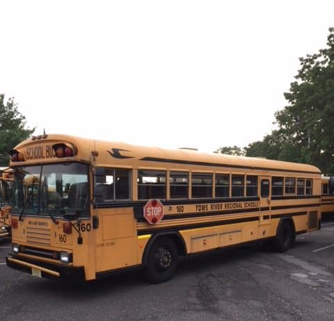 Through the EPA Clean Diesel Rebate Program, the district is incentivized to scrap old buses and replace them with more efficient models. Last year the district replaced this 1996 school bus with a more fuel-efficient 2018 model, and earned a rebate in the process as part of the program. (Photo courtesy of Toms River Regional Schools)