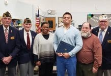 Andrew Dodd with his parents and VFW representatives. (Photo courtesy Manchester Township School District)