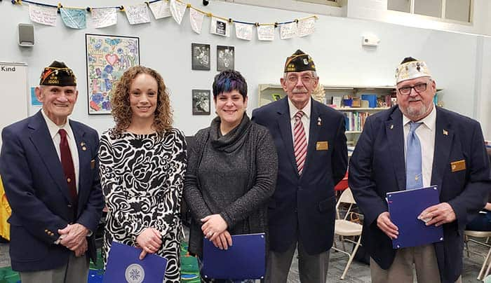 Manchester's VFW Teachers of Year Dana Civile and Nicole Raia with VFW Representatives Charles Phillips, Ray Gibson and Joe Whelan. MTHS Teacher of the Year Joe Gawlik was not present at the meeting. (Photo courtesy Manchester Township School District)