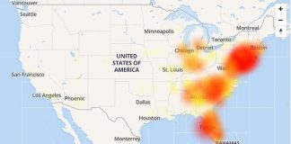 The Verizon outages as reported by downdetector.com. (Graphic courtesy downdetector.com)