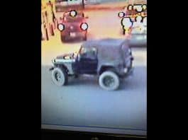 The Jeep appears to have a diamond plate around the driver's front wheel well, and black wheels without fender flares. (Photo courtesy Barnegat Township Police)