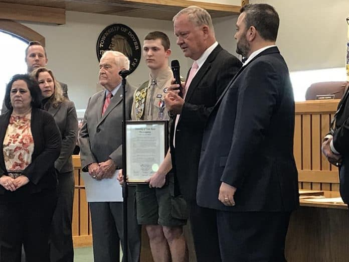 R. Joseph Latshaw III (pictured) and Shane Coffee were honored by the Toms River governing body. (Photo by Chris Lundy)