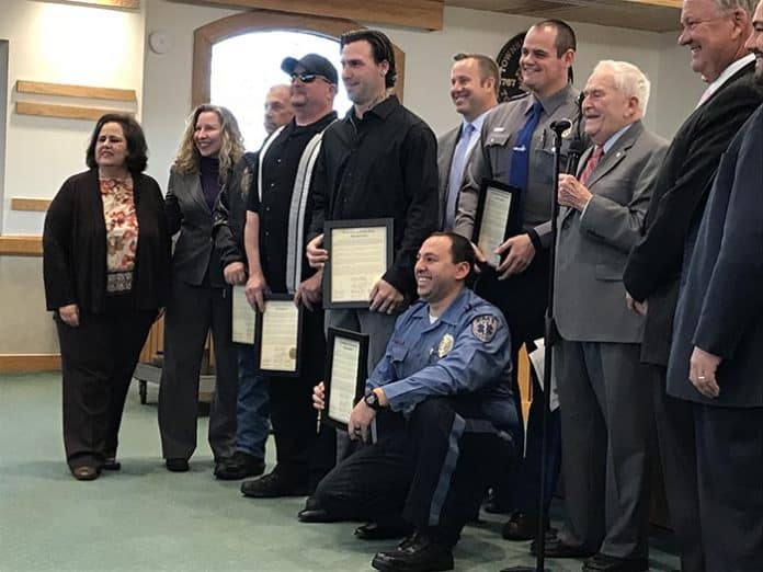 Lifesavers were honored by the Toms River governing body. (Photo by Chris Lundy)