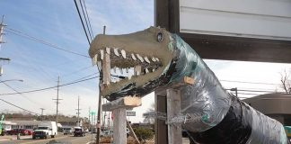 The diner's dino does not yet have a name. (Photo by Patricia A. Miller)