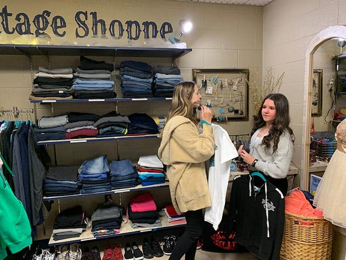 Students are assisting with the operation of the Vintage Shop, which is overseen by the school's media specialist and supported by donations by parents, teachers and students. (Photo courtesy Jackson Township School District)