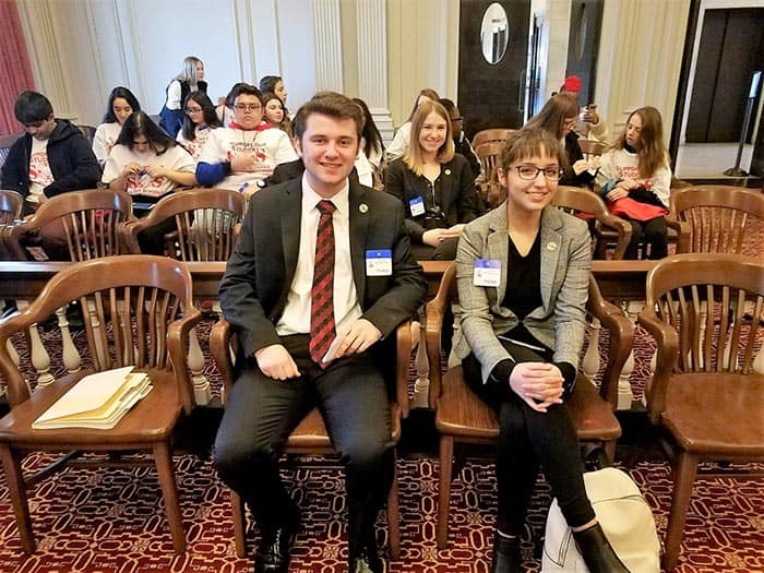 Toms River Regional Schools students Zach Dougherty, Chiara Feimer, and, second row, Gianna Danielle, all from High School North were ready to testify at the March 20, 2019 Assembly Budget Committee Hearings in opposition of the state aid cuts in Bill S2. (Photo courtesy Toms River Regional School District)