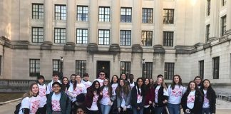 High School North students, donning their Save Our Schools t-shirts, gather outside the statehouse annex prior to the March 20, 2019 Assembly Budget Committee Hearing. (Photo courtesy Toms River Regional School District)