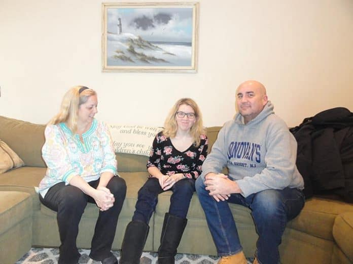 Megan Franzoso, center, with her mother, Deborah, and her uncle, Brian Geoghegan. (Photo by Patricia A. Miller)