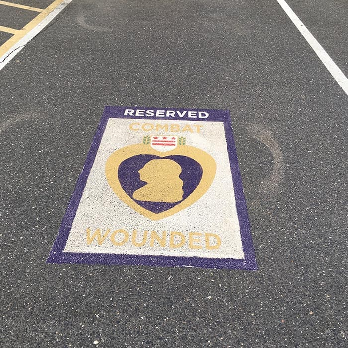 Two parking spaces at Town Hall have been set aside for veterans and the combat wounded. (Photo courtesy Carmen Amato)