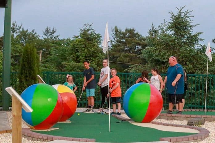 Beach balls provide a coastal atmosphere on the miniature golf course at FirstEnergy Park. (Photo courtesy Lakewood BlueClaws)