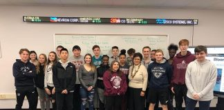 High School South students pose with Edele Hovnanian, who visited the school's Real Estate and Business Incubator funded in 2018-2019 by the Hirair and Anna Hovnanian Foundation on Jan. 18, 2019. (Photo courtesy Toms River Regional Schools)